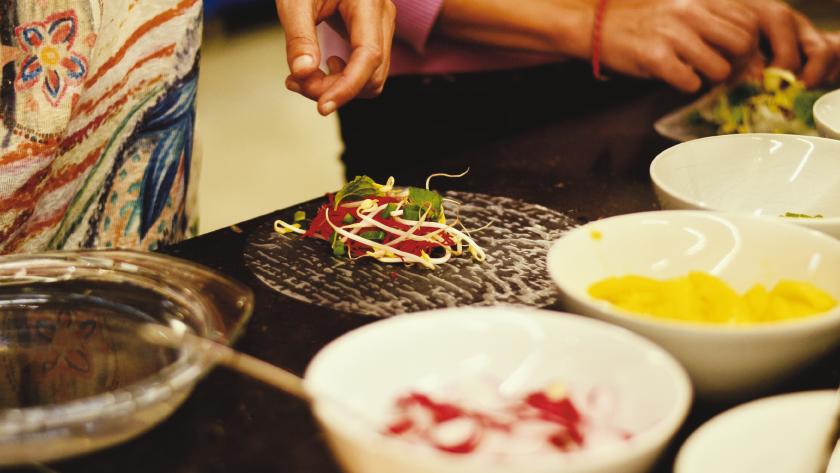 Gruppen Kochkurs. Gemüse Gewürze Kräuter Kochen